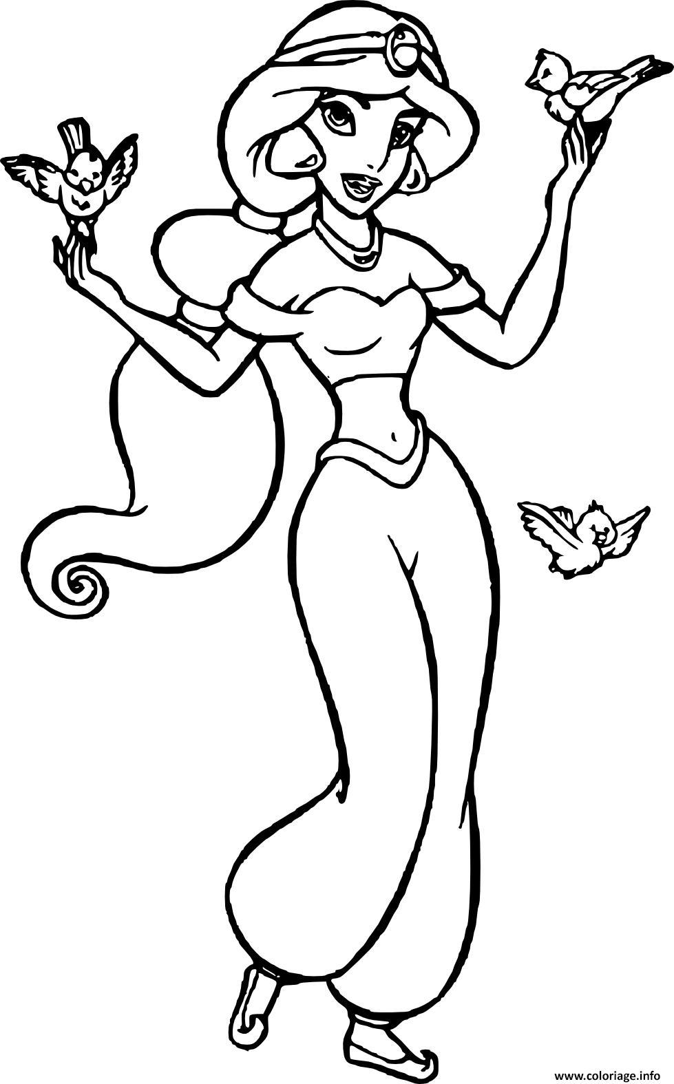 Dessin jasmin femme courageuse et independante dans univers de aladdin disney Coloriage Gratuit à Imprimer