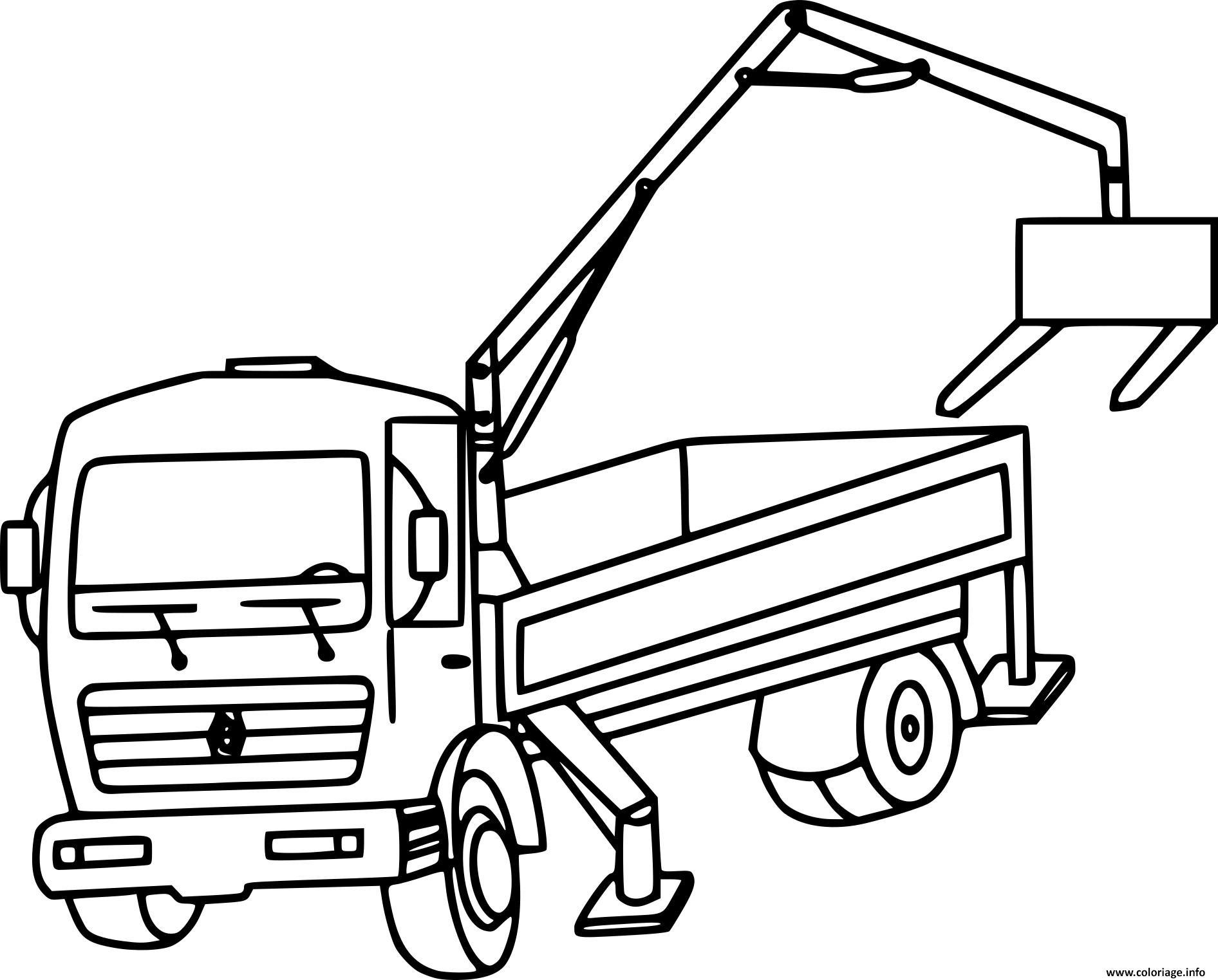Coloriage Camion Grue Appareil De Levage Dessin Camion A Imprimer