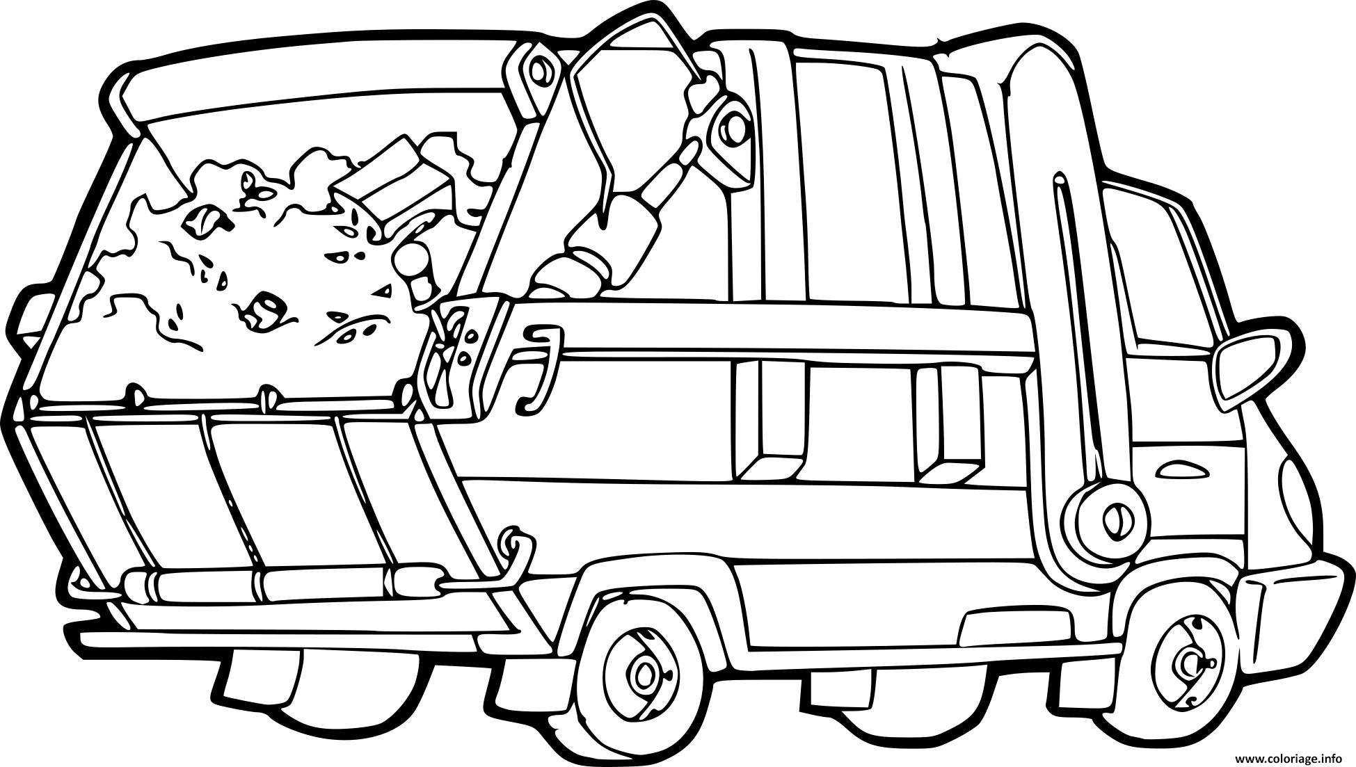 Coloriage Camion Poubelle Benne A Ordures Menageres Dessin ...