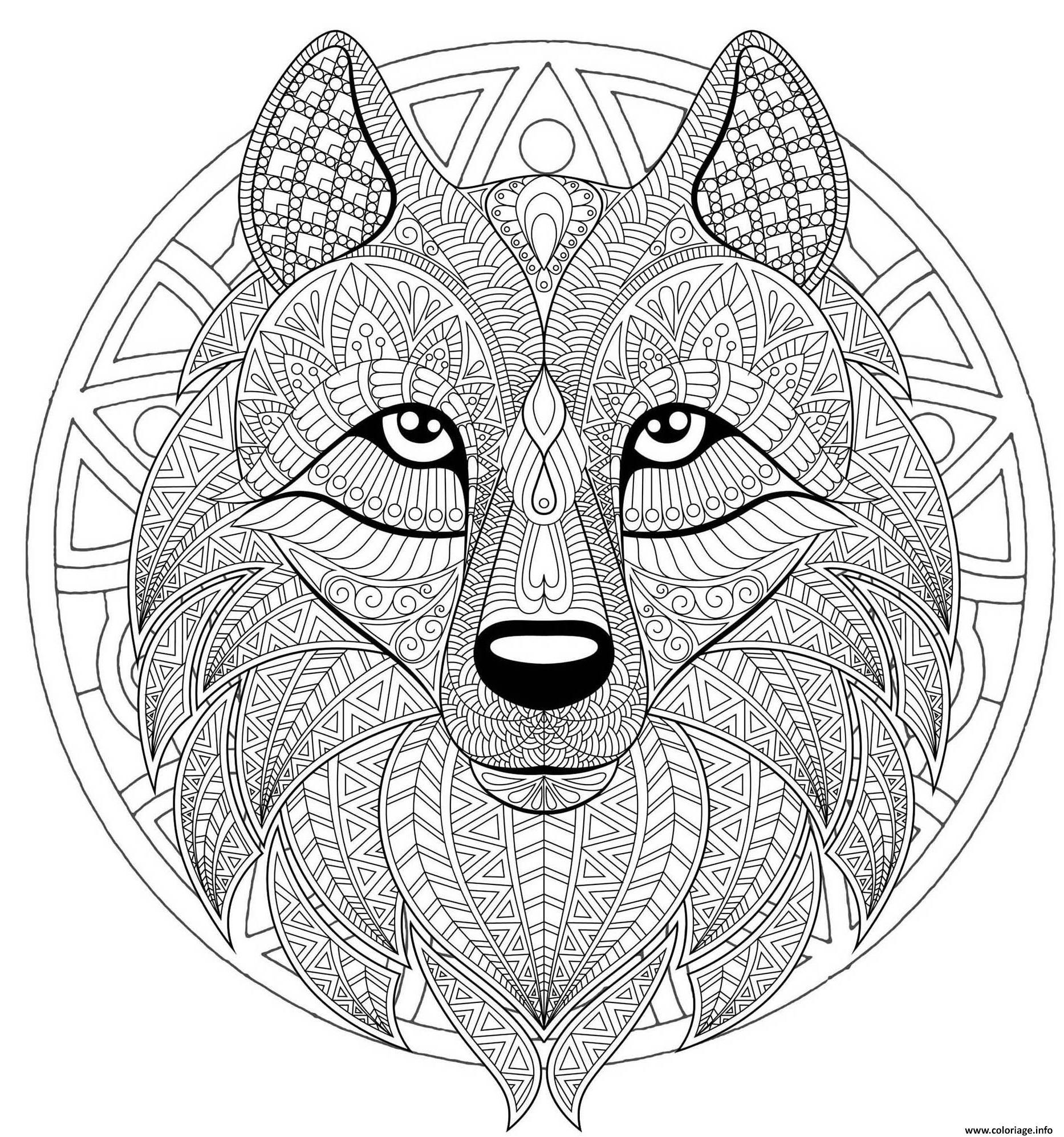 Coloriage Mandala Loup Difficile Complexe Beau Loup Dessin