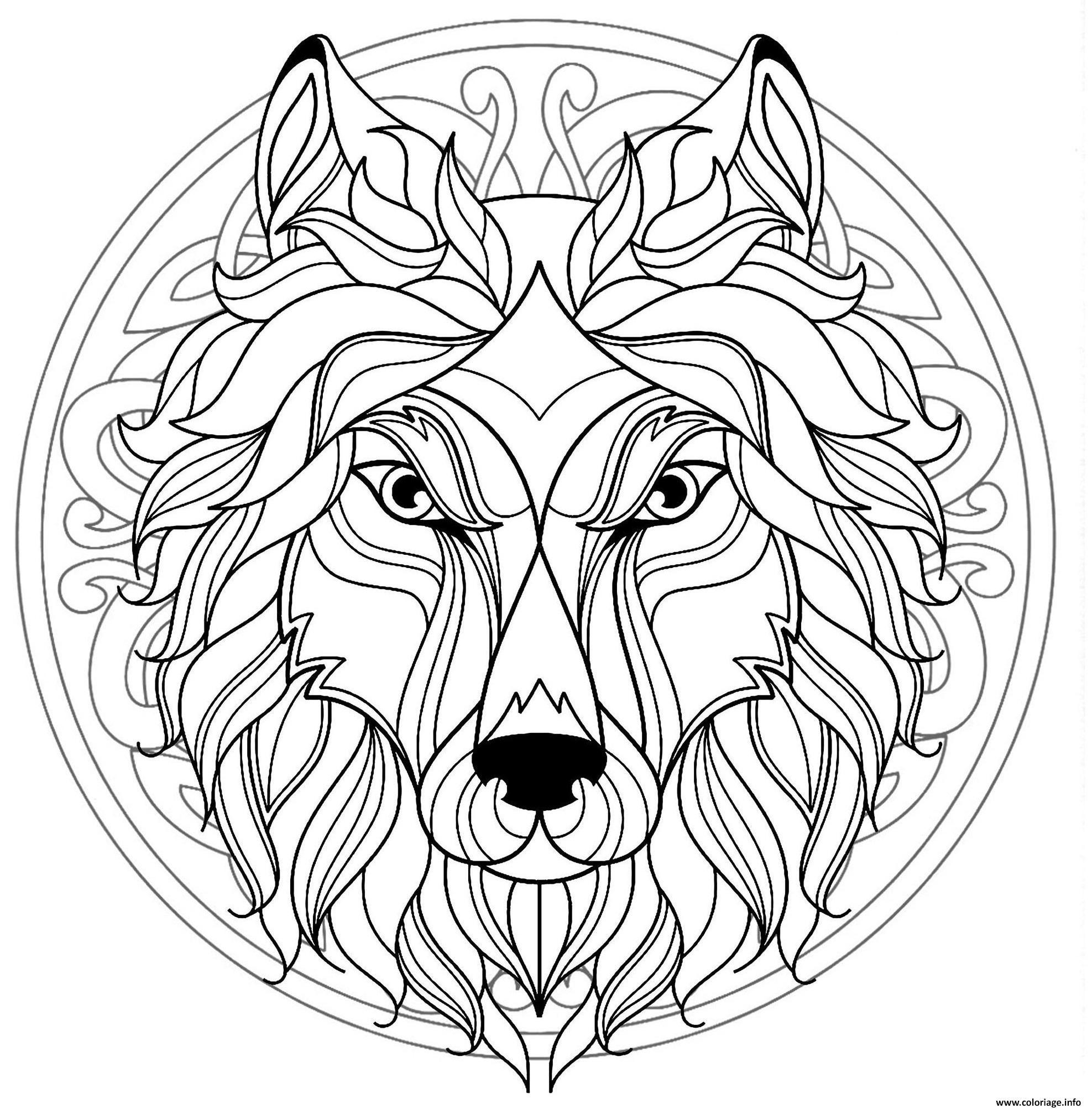 Coloriage Mandala Tete Loup Canis Lupus Dessin Mandala à ...