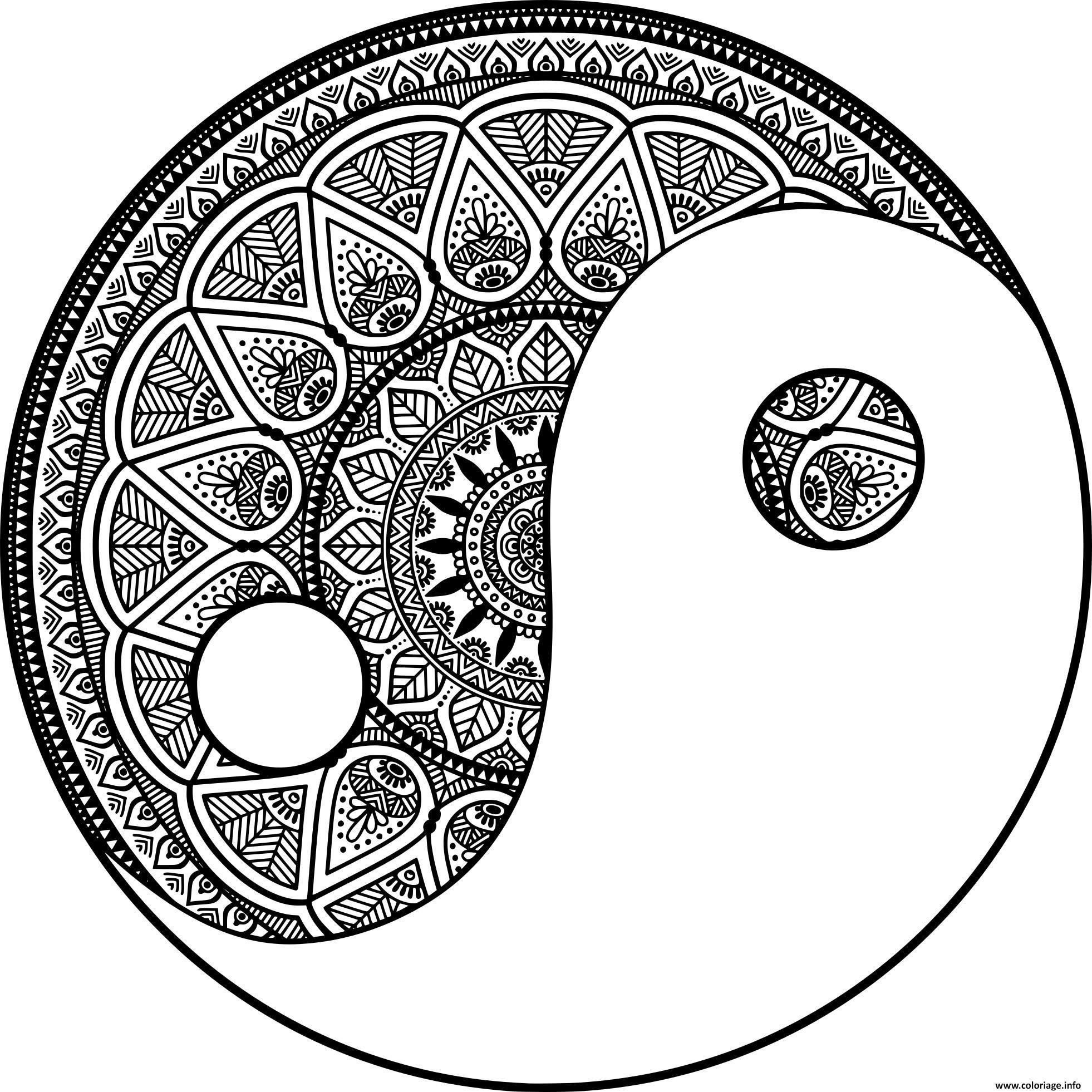 Coloriage Mandala Zen Yin Et Yang Philosophie Chinoise Dessin Mandala A Imprimer