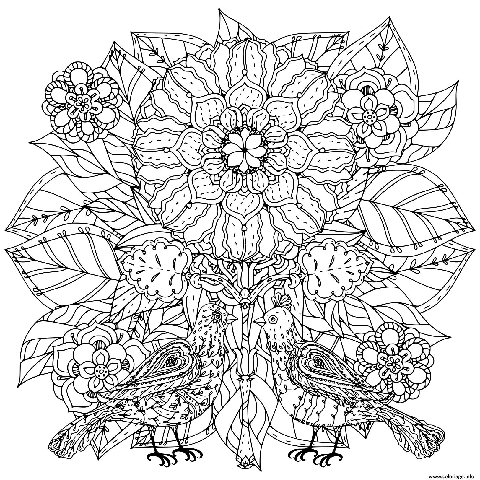 Coloriage des fleurs et des papillons art therapie - JeColorie.com