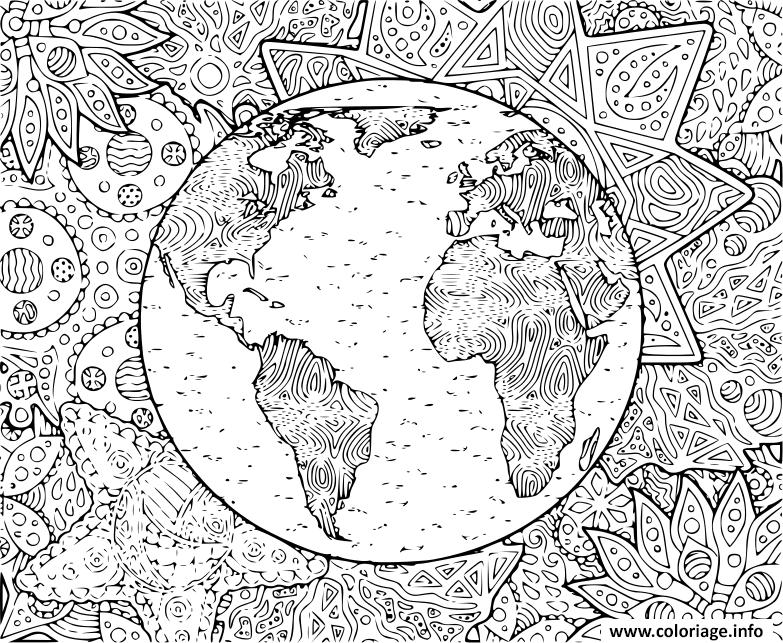 Coloriage La Planete Terre Et Son Environnement dessin