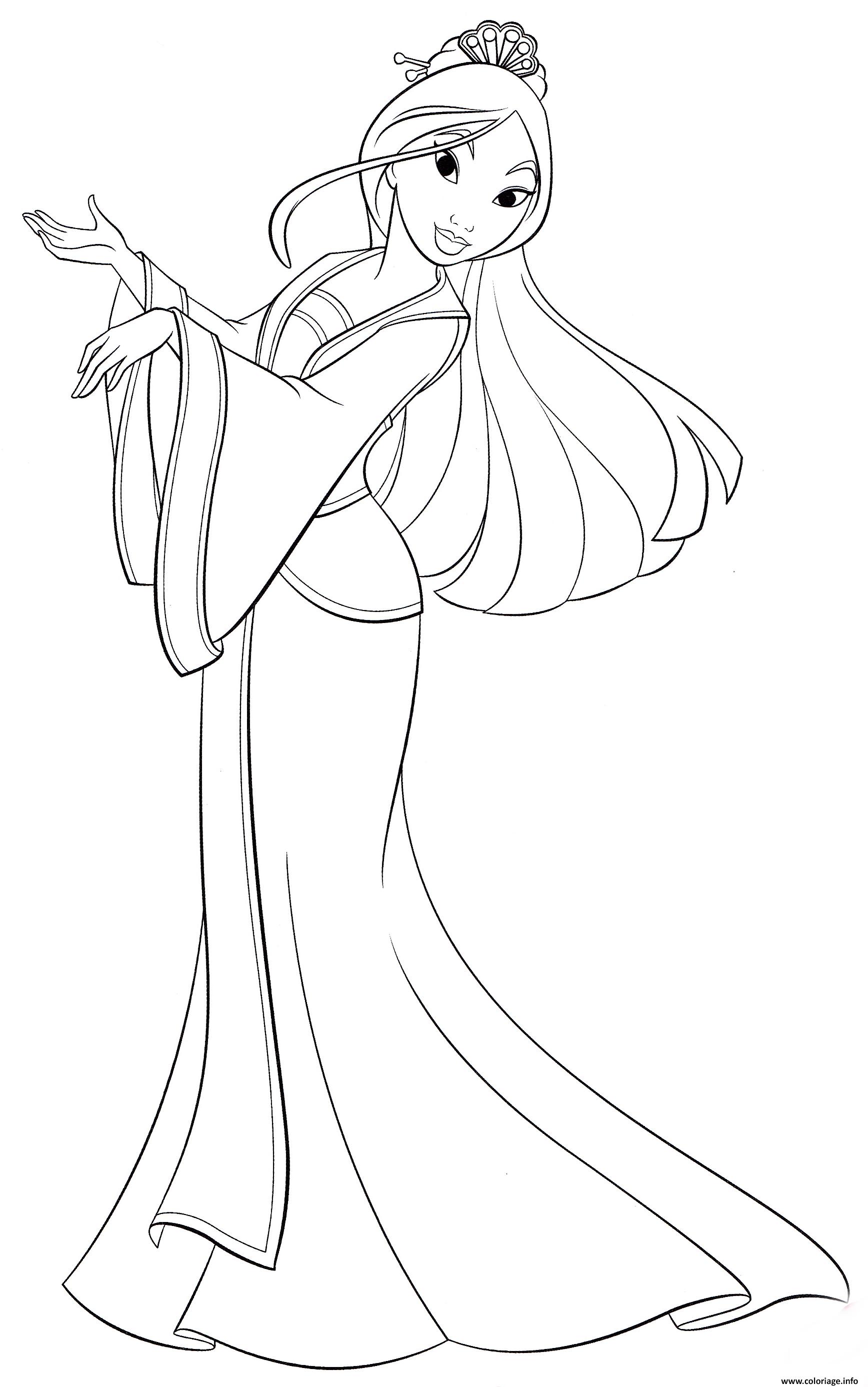 Coloriage Princesse Disney Mulan Legende Chinoise De Fa Mulan Jecolorie Com