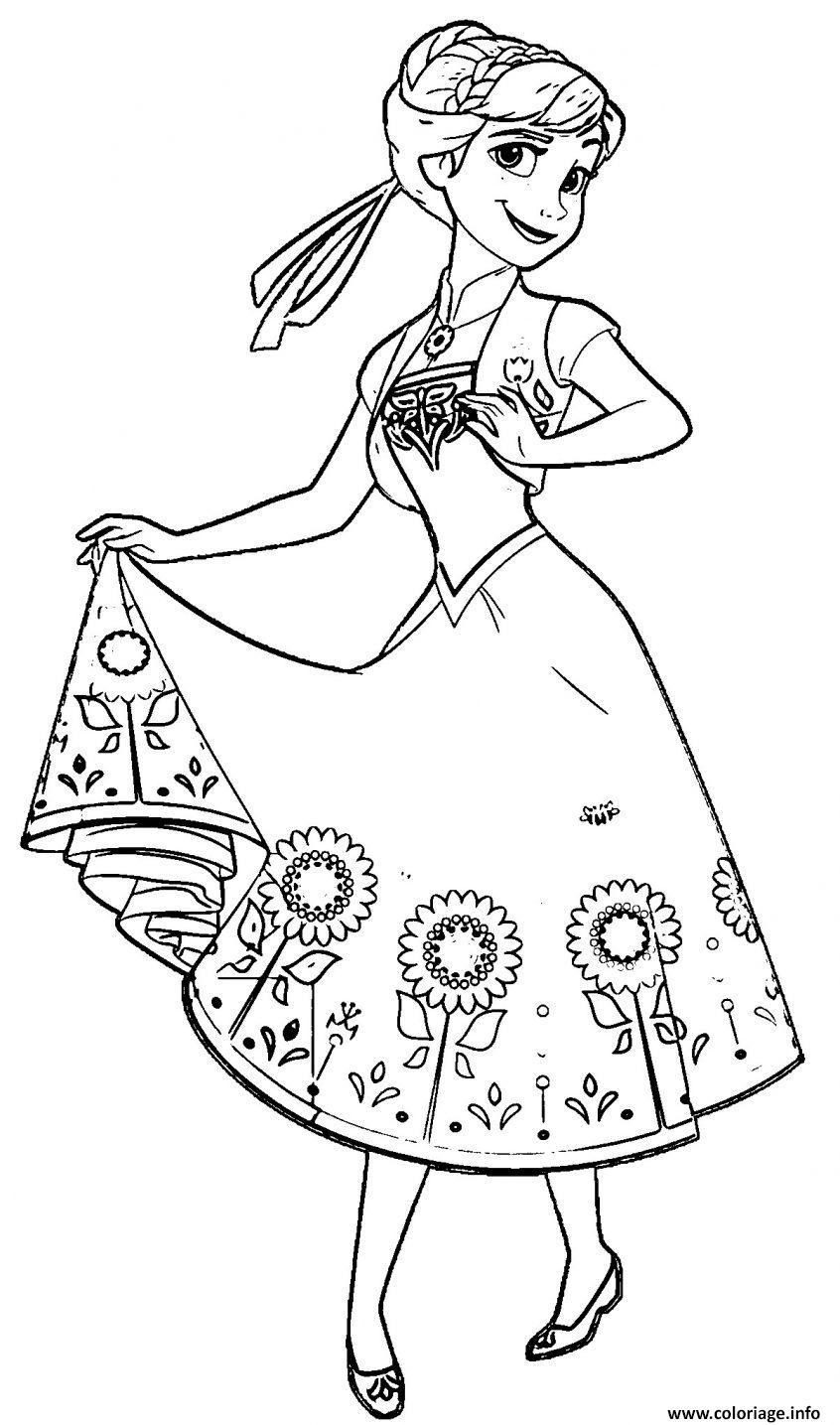 Coloriage Princesse Anna D Arendelle Disney 2013 Dessin Princesse à imprimer
