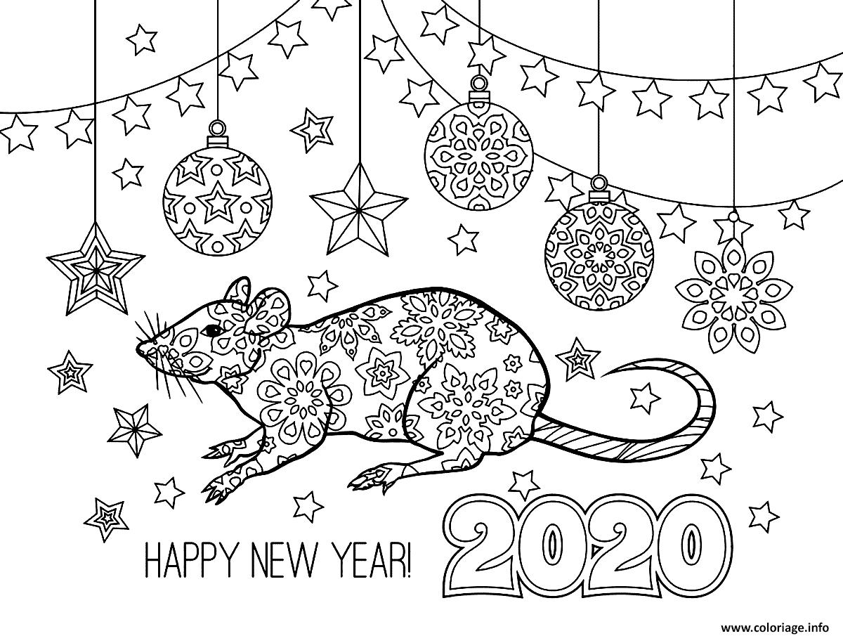 Dessin 2020 nouvel an Rat de Metal le 25 janvier 2020 Coloriage Gratuit à Imprimer