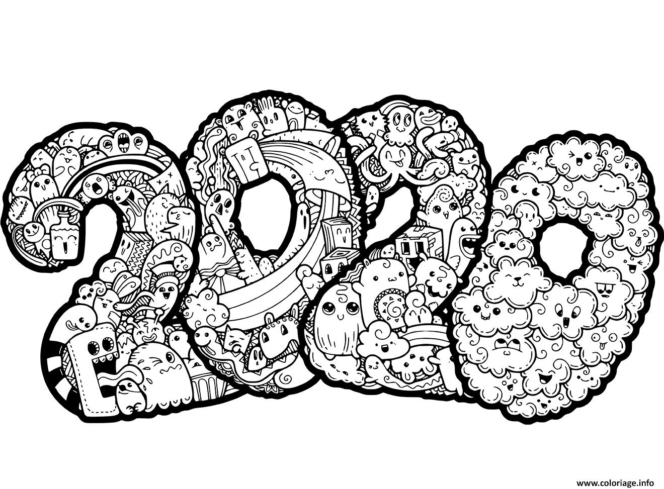 Dessin nouvel an 2020 Doodle Coloriage Gratuit à Imprimer