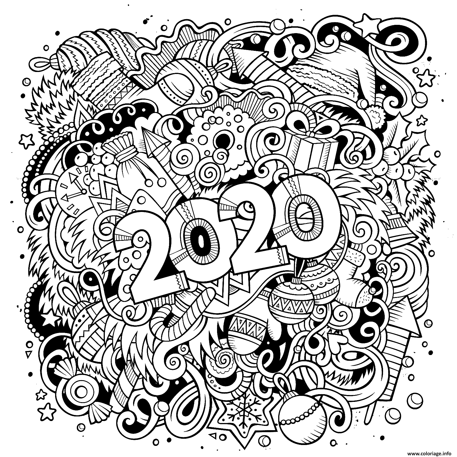 coloriage nouvel an and objects page dessin