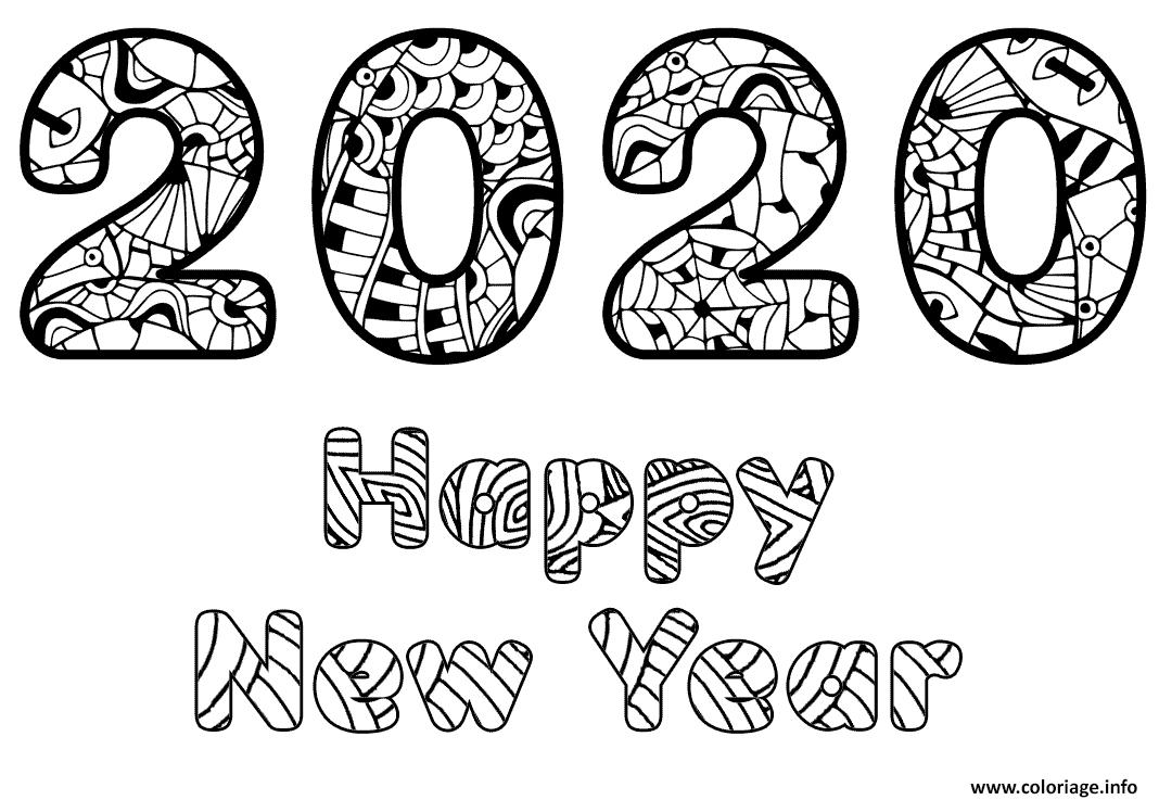 Dessin 2020 joyeux nouvel an Coloriage Gratuit à Imprimer