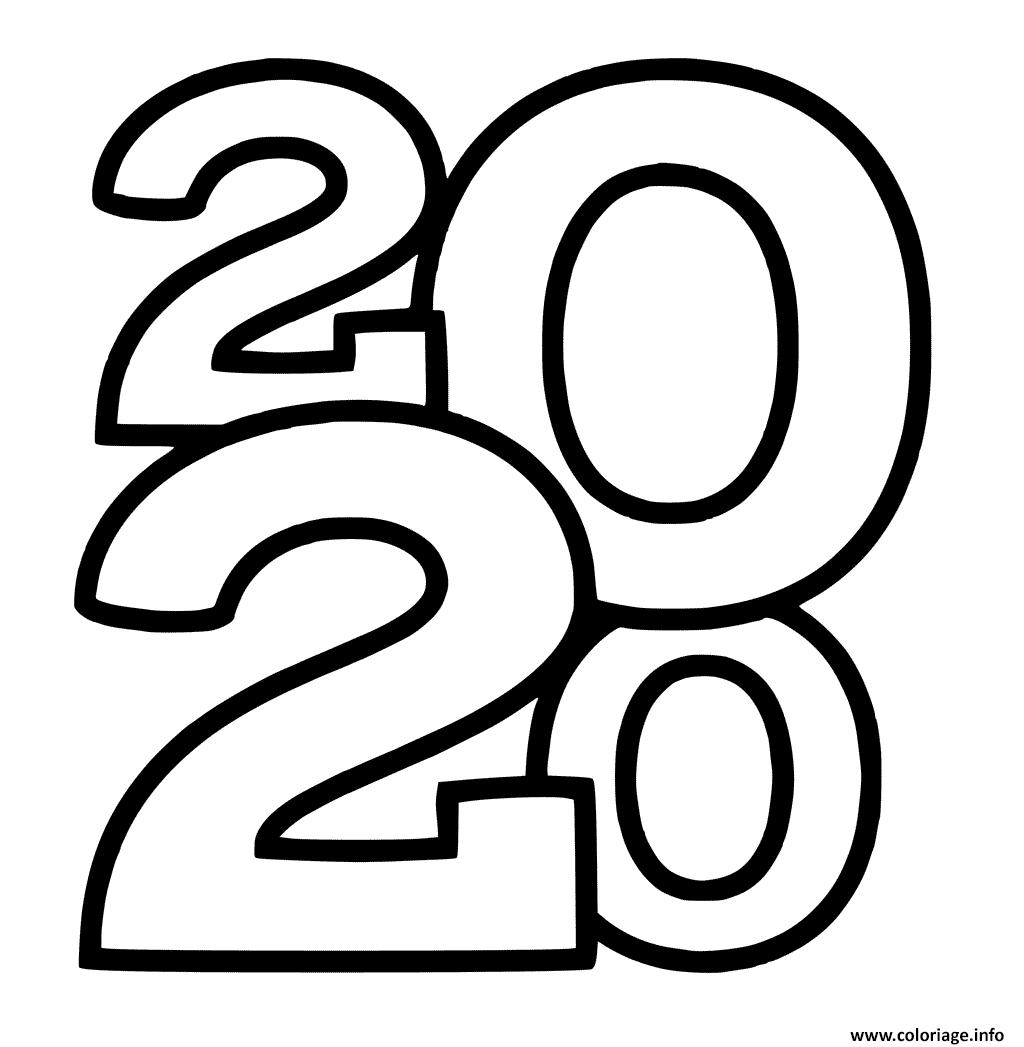 Dessin nouvel an 2020 chiffres seulement Coloriage Gratuit à Imprimer