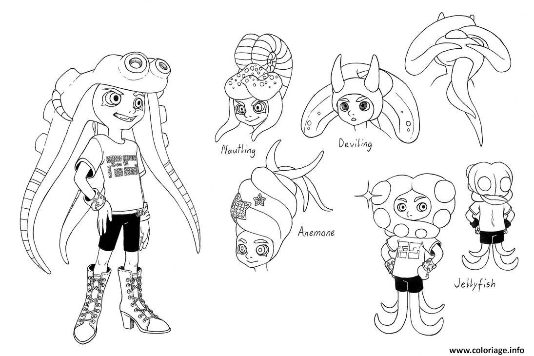 Coloriage Splatoon Characters Marie Dessin