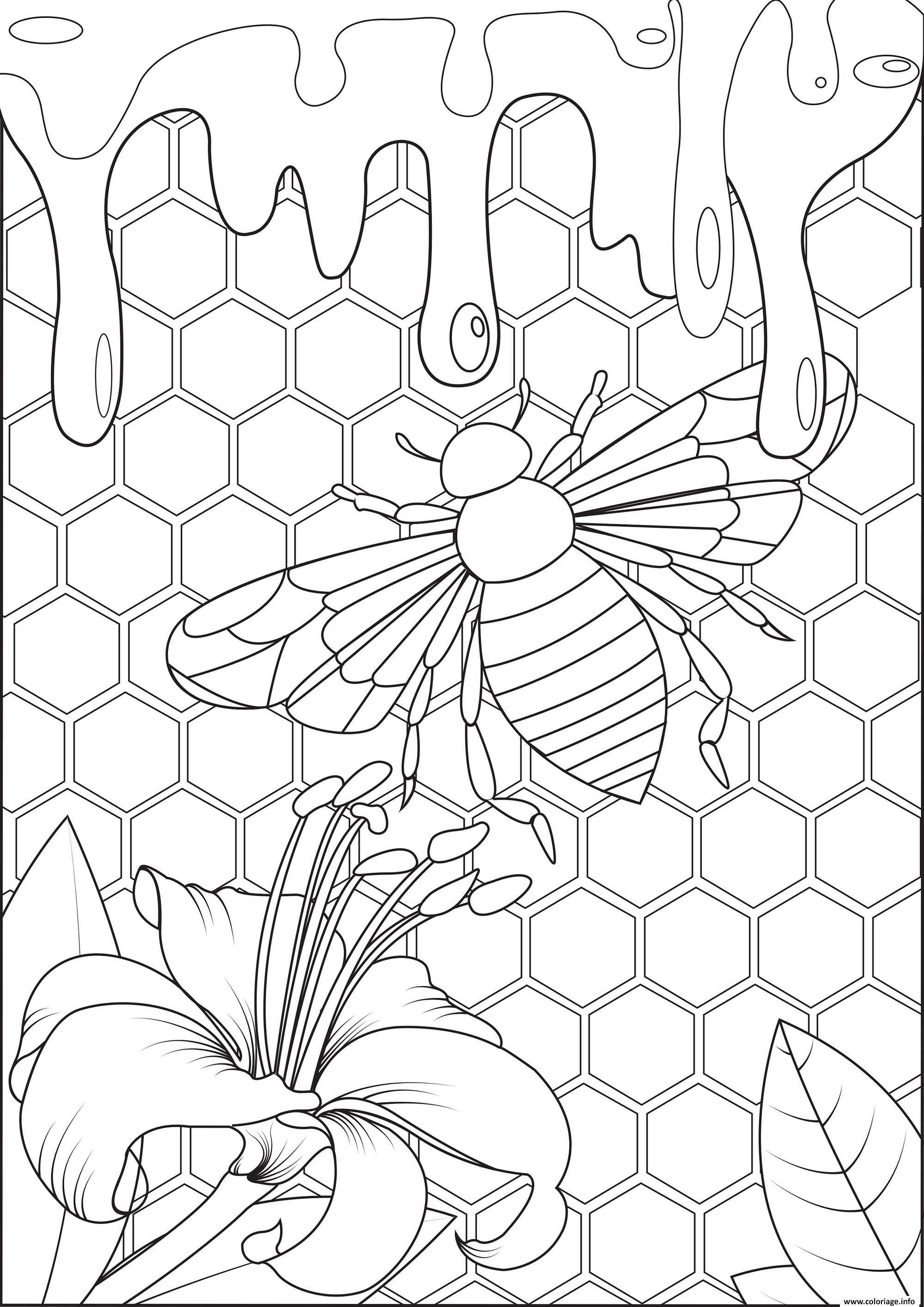 Dessin abeille production de miel habitat Coloriage Gratuit à Imprimer