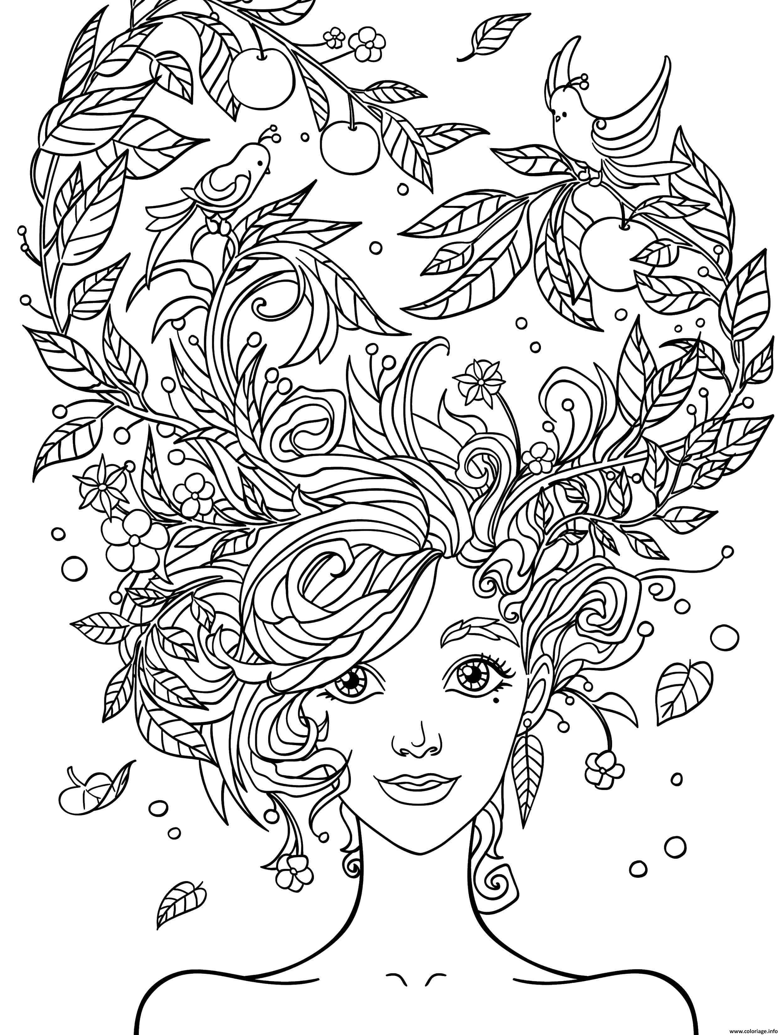 Coloriage Fille 10 A 12 Ans Cheveux En Fleurs Dessin