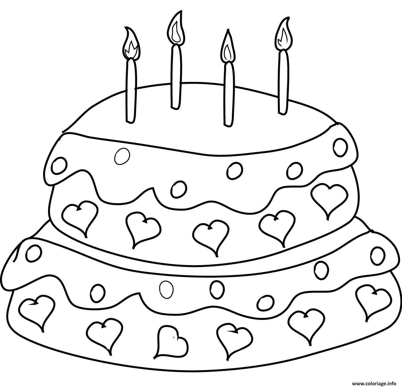 Coloriage gateau anniversaire avec 32 chandelles et des coeurs ...