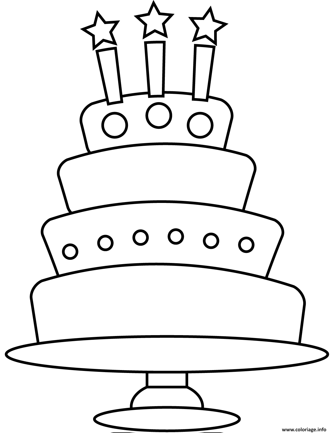 Coloriage Simple Gateau Anniversaire 3 Chandelles 4 Etages Dessin