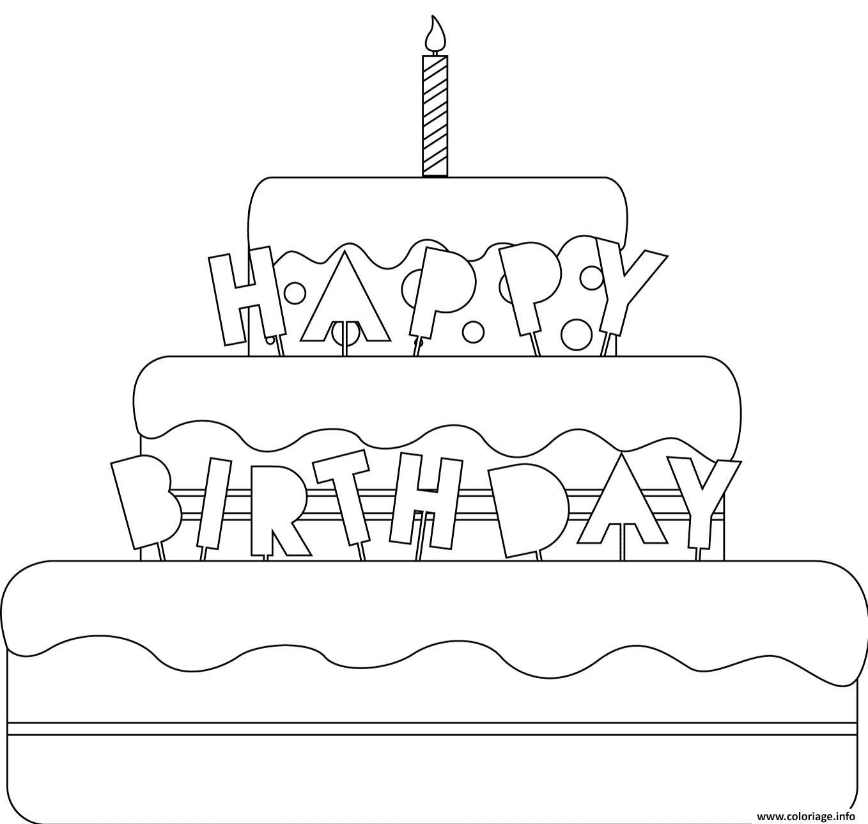 Coloriage Joyeux Anniversaire En Anglais Happy Birthday Dessin