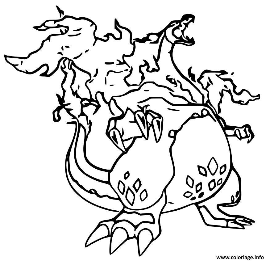Coloriage Pokemon Gigamax Dracaufeu Dessin
