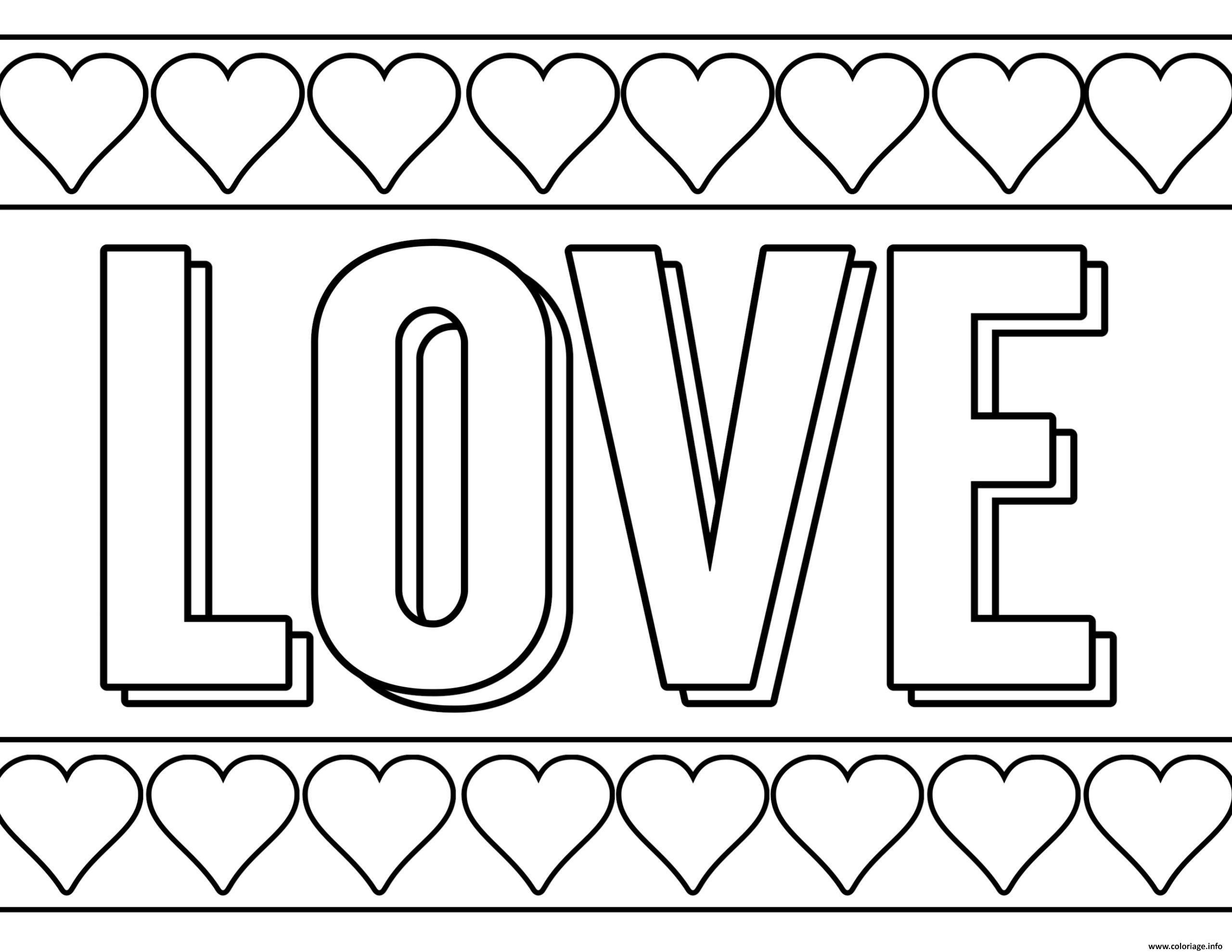 Dessin Love Amour avec pleins de coeurs Coloriage Gratuit à Imprimer