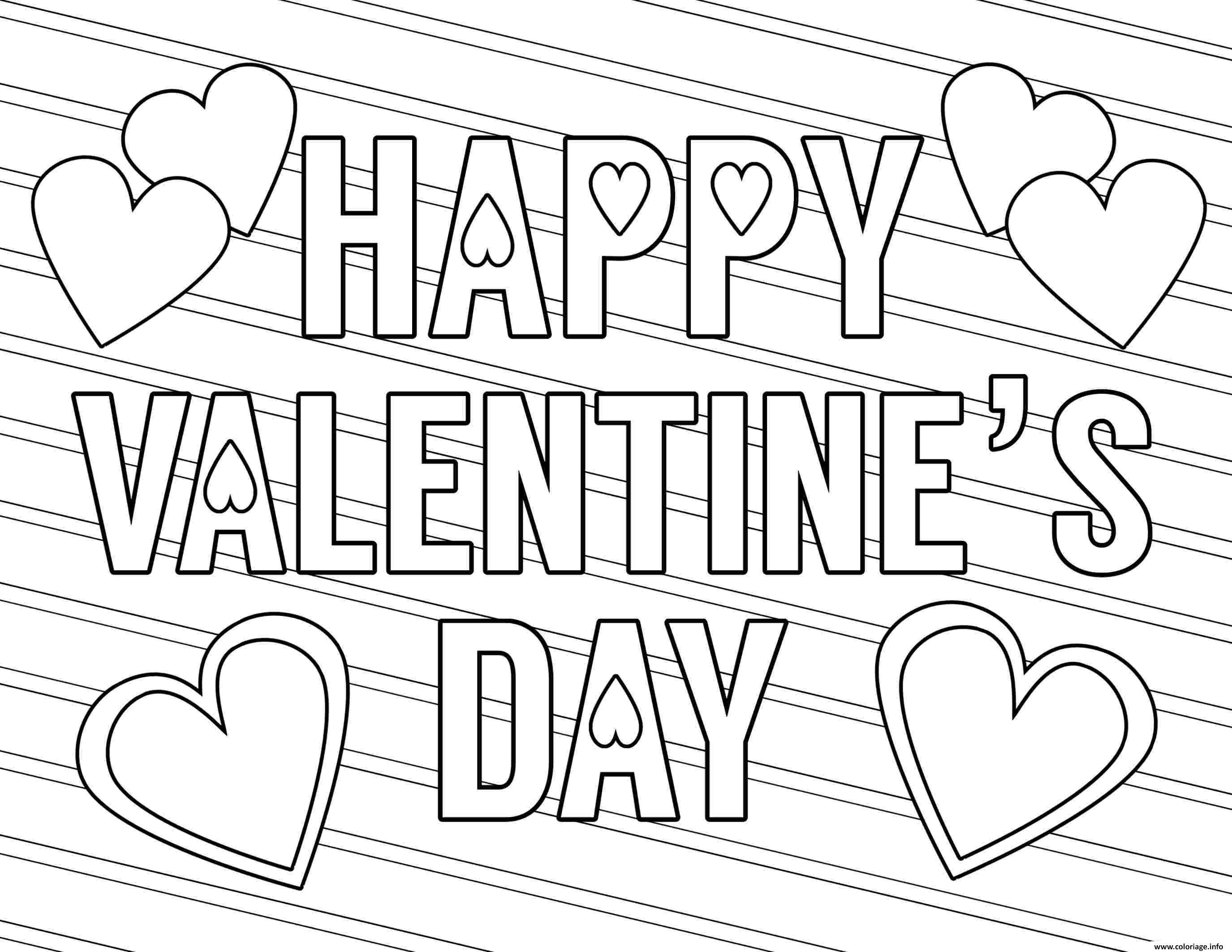 Dessin happy valentines day free love Coloriage Gratuit à Imprimer