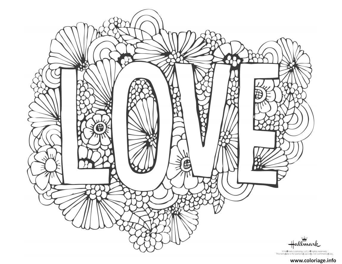 Dessin mot amour avec fond de fleurs Coloriage Gratuit à Imprimer