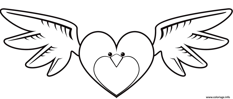 Dessin coeur en forme de oiseau Coloriage Gratuit à Imprimer