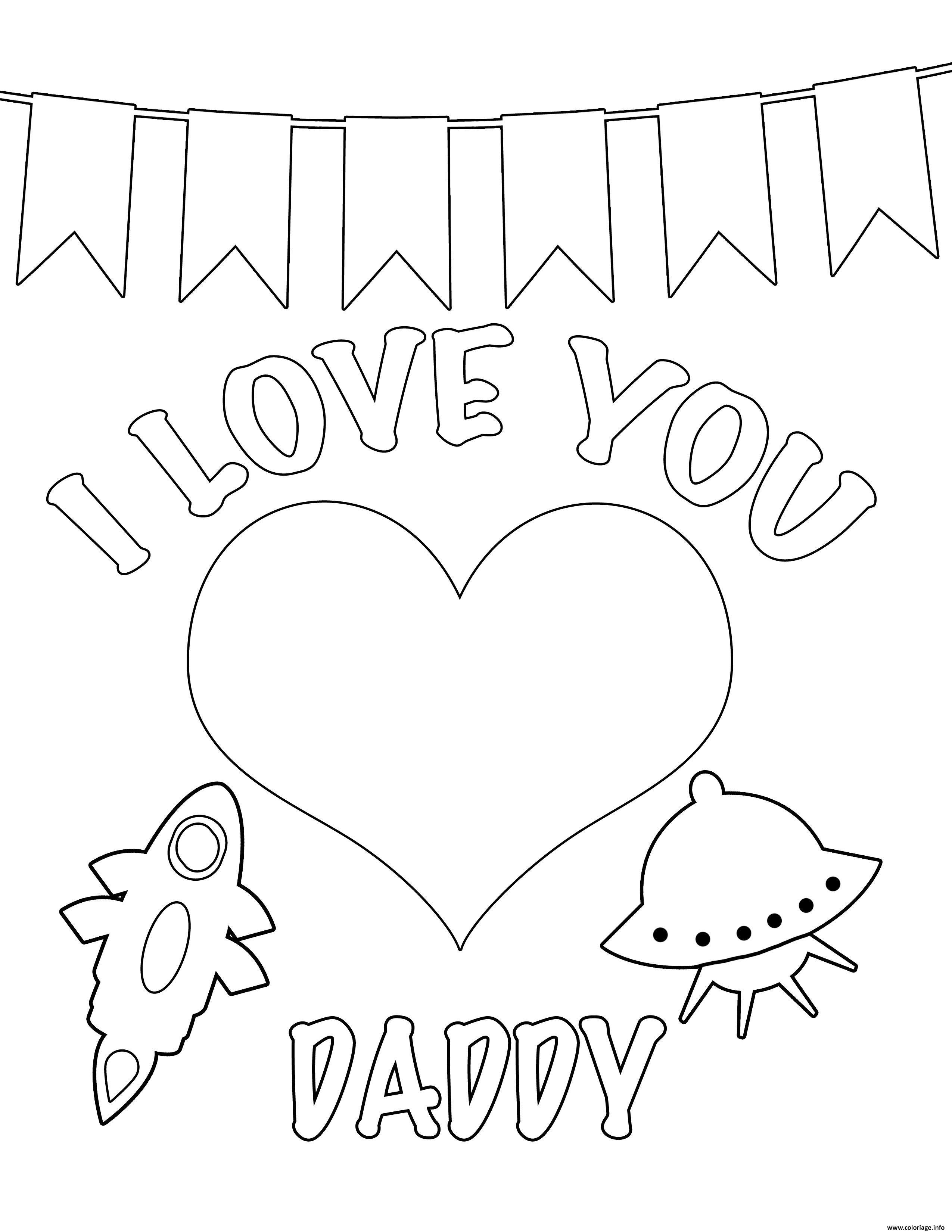 Dessin Je taime Papa Love You Daddy Coloriage Gratuit à Imprimer
