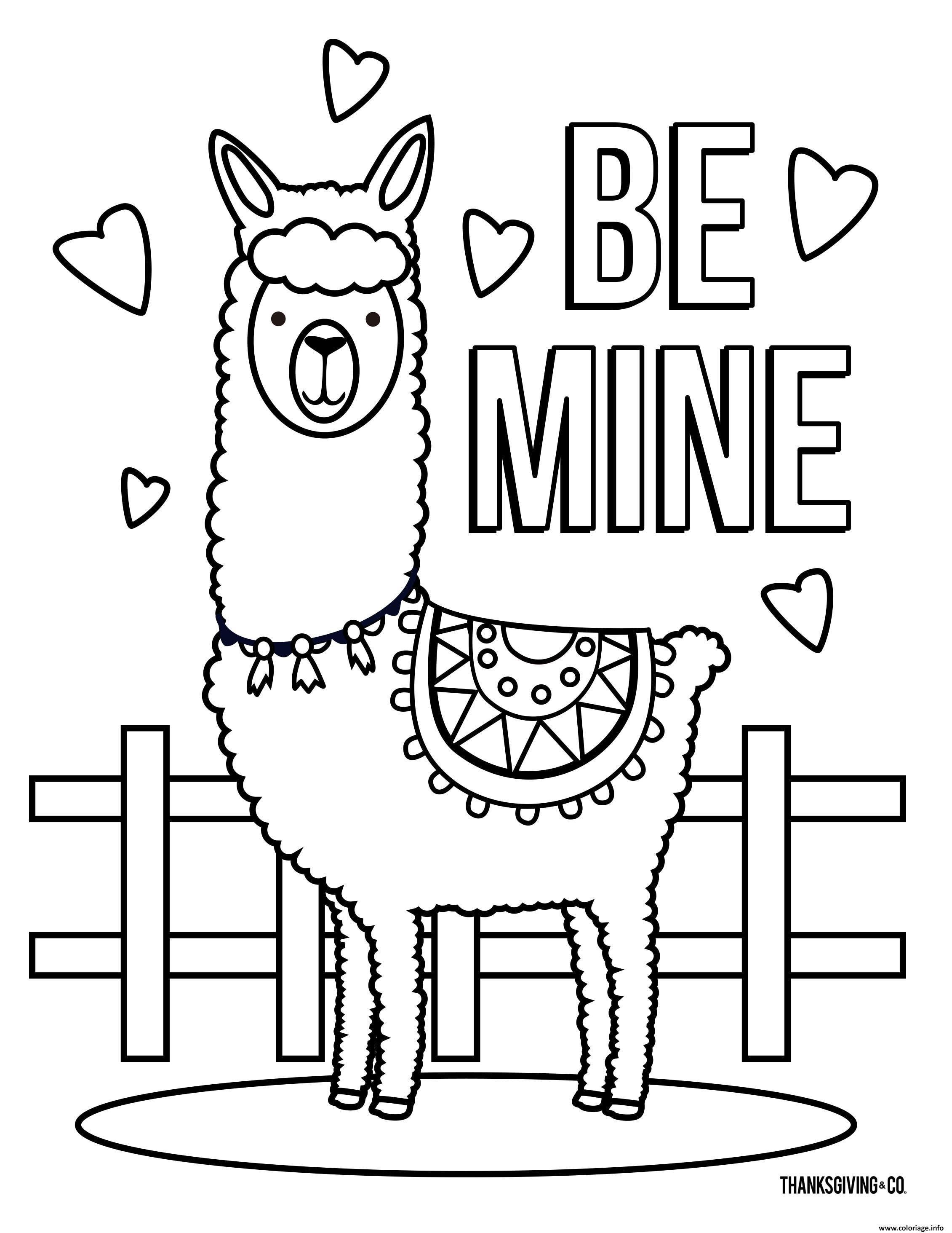 Dessin Llama Be Mine Love Coloriage Gratuit à Imprimer