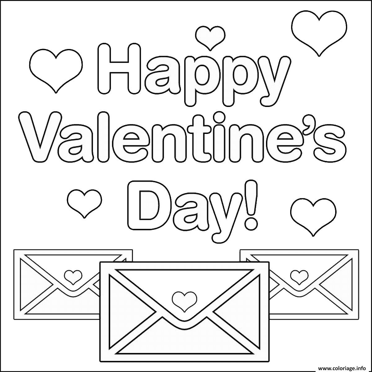 Dessin happy valentines day letters with hearts Coloriage Gratuit à Imprimer