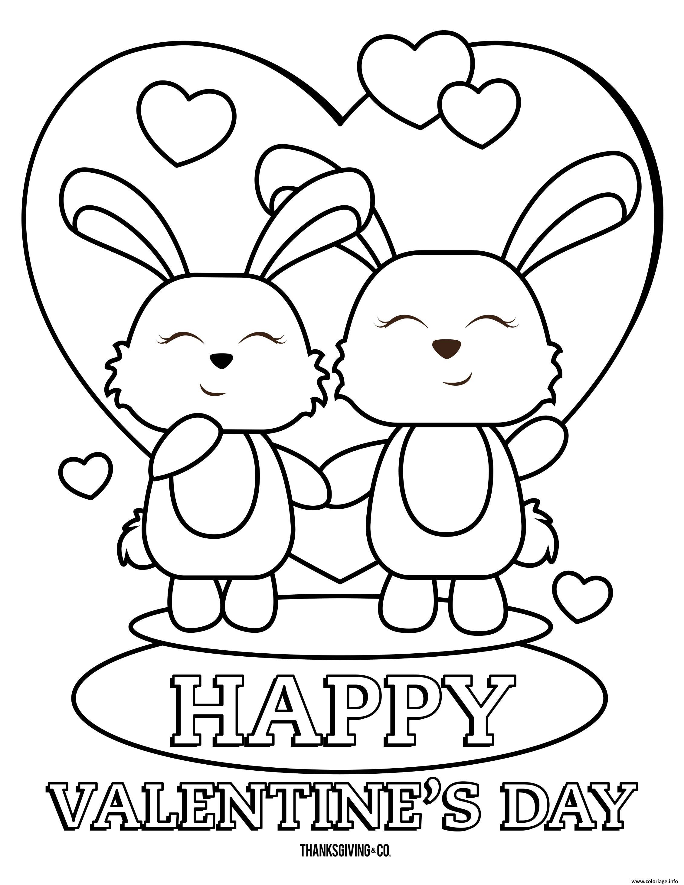 Dessin joyeuse saint valentin deux lapins en amour Coloriage Gratuit à Imprimer