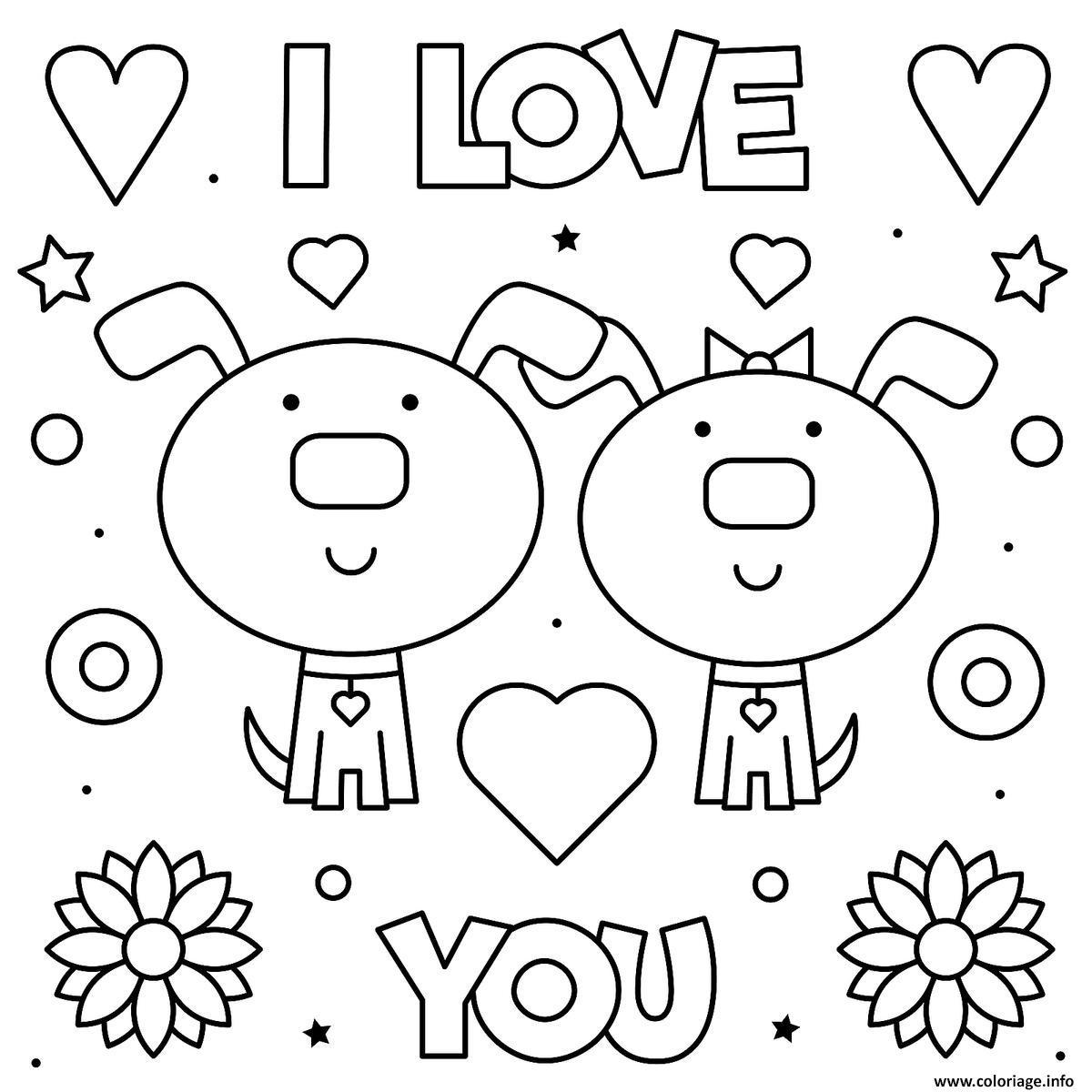 Dessin I Love you Je Taime deux chiens adorable Coloriage Gratuit à Imprimer