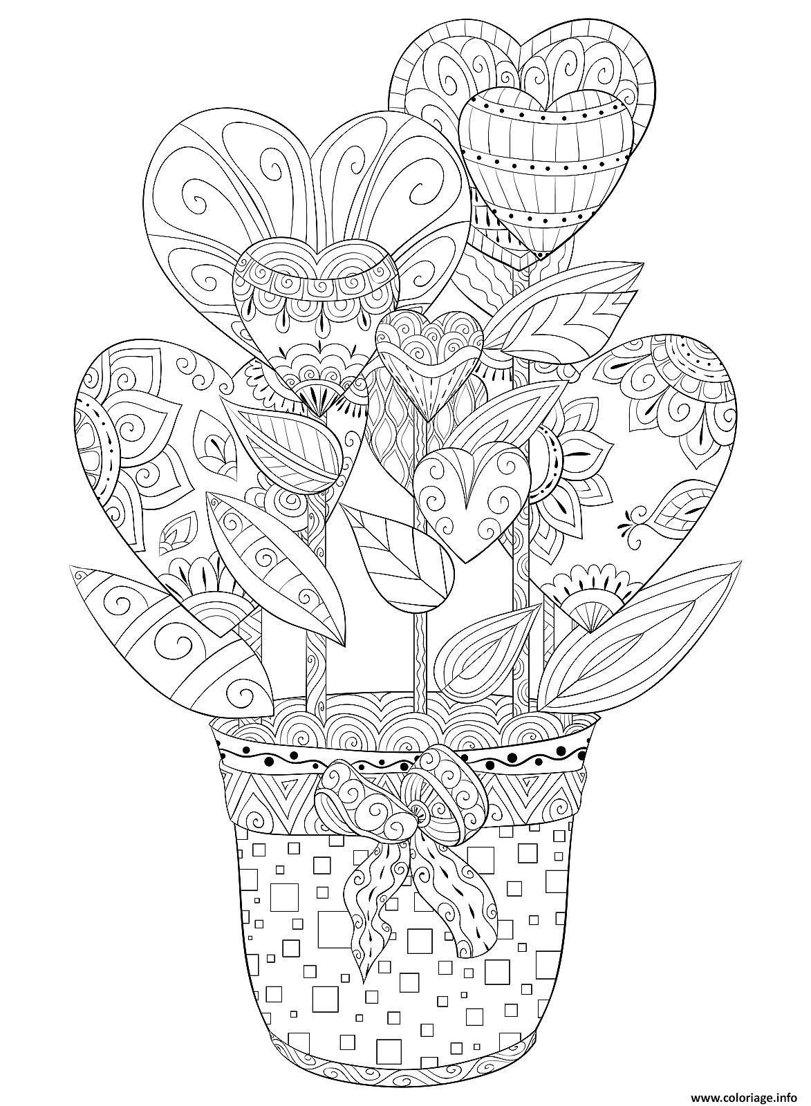 Dessin pot de fleurs en forme de coeurs pour adulte zentangle Coloriage Gratuit à Imprimer