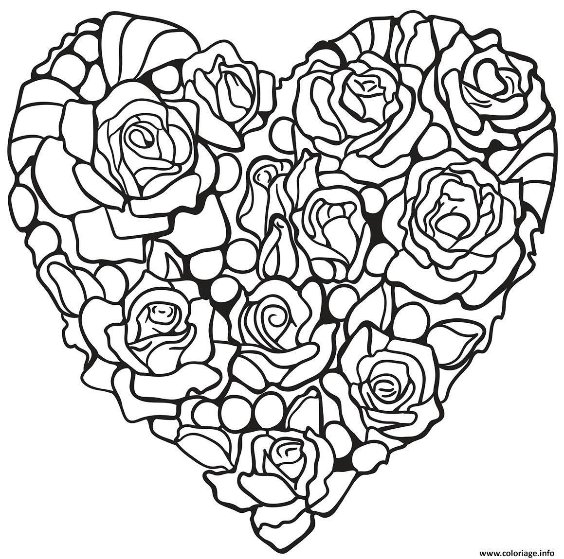 Coloriage Roses En Forme De Coeur Jecolorie Com