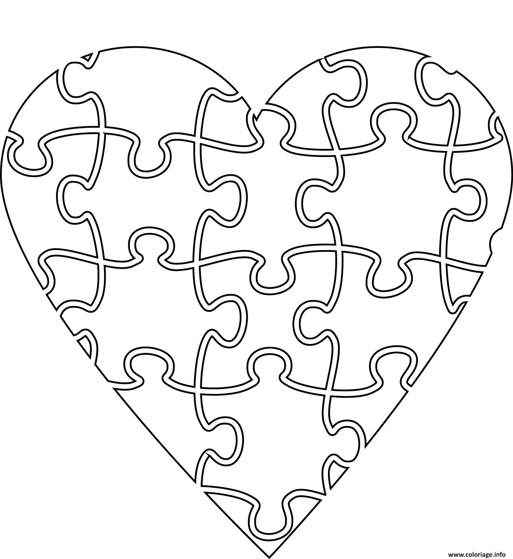 Coloriage Coeur En Forme De Casse Tete dessin