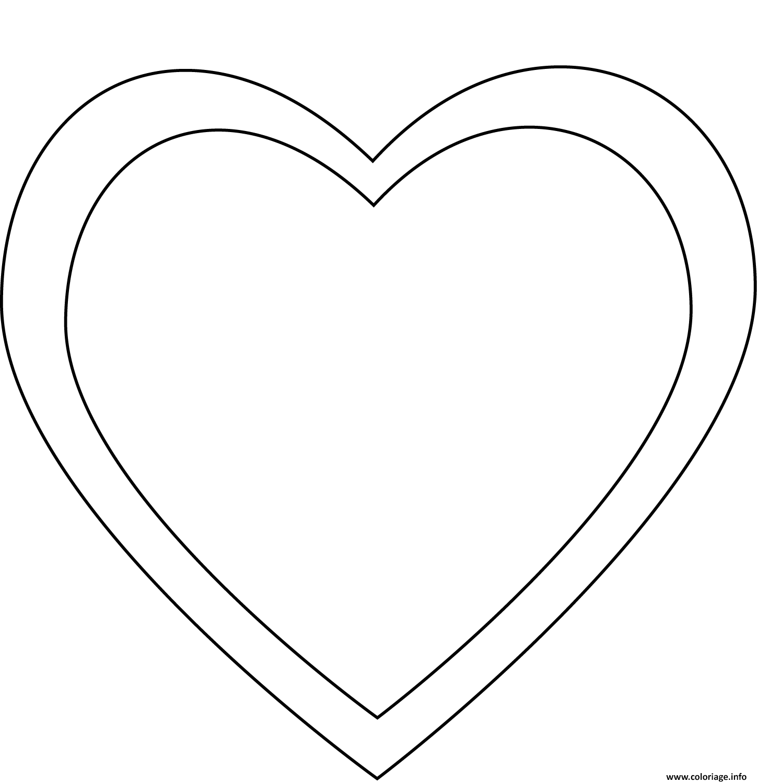 Coloriage Simple Coeur En Double Dessin Coeur A Imprimer