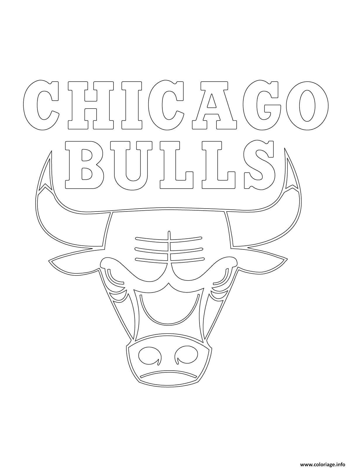 Dessin chicago bulls logo nba sport Coloriage Gratuit à Imprimer