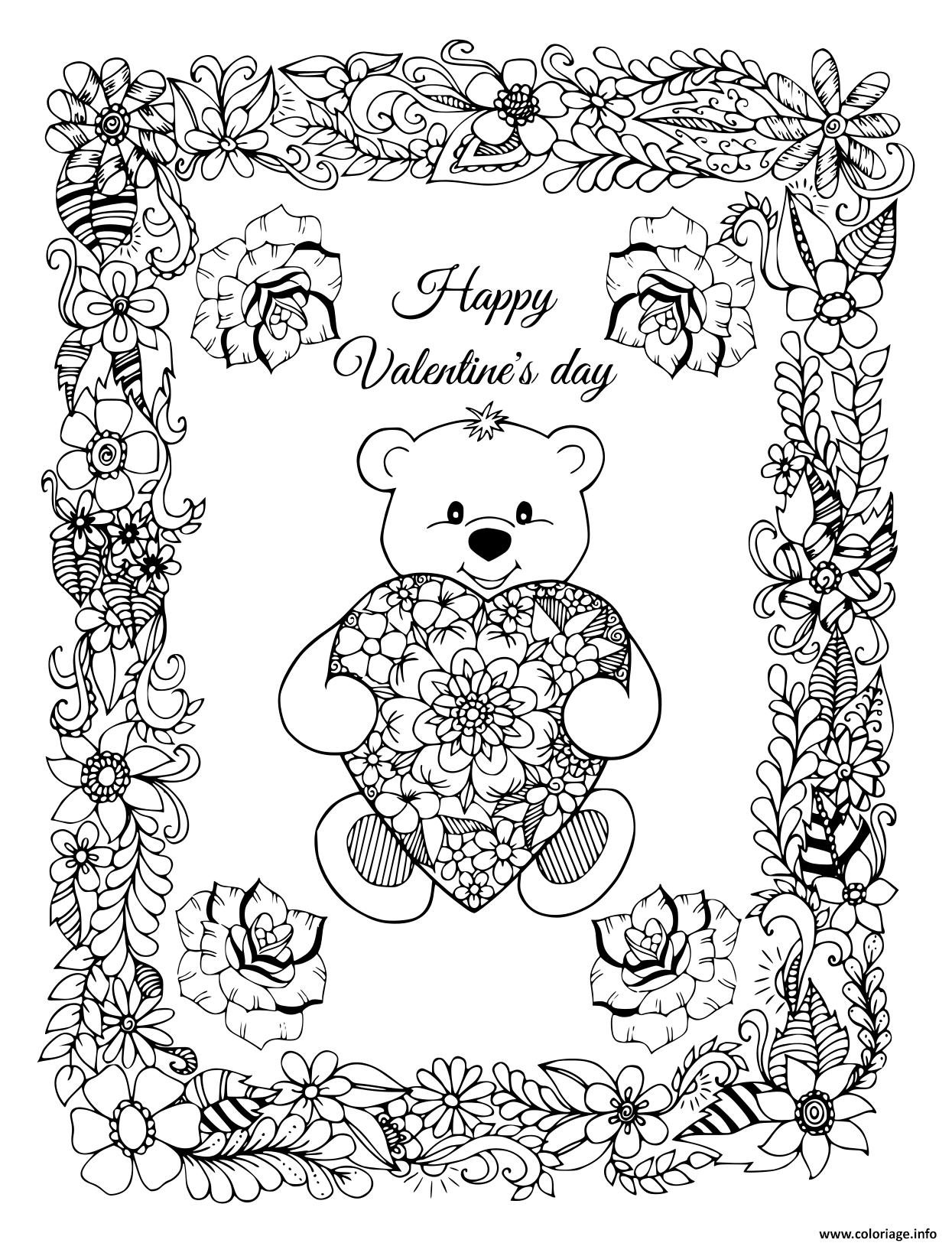 Dessin cadre de fleurs avec un ourson et coeur st valentin Coloriage Gratuit à Imprimer