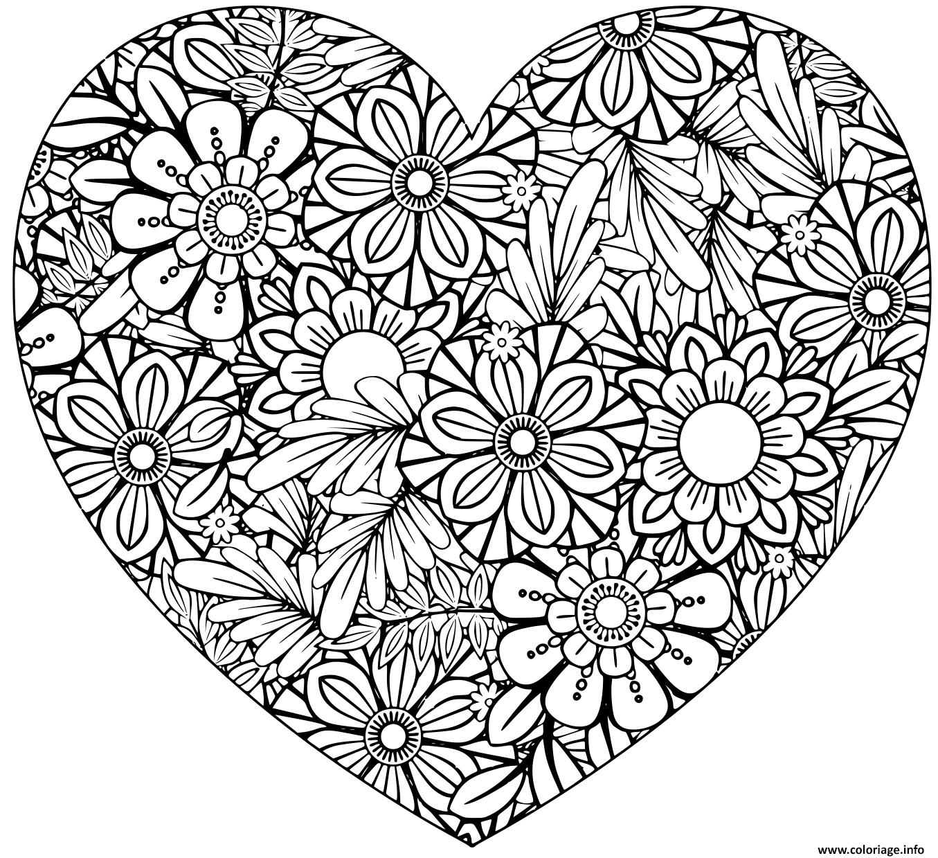 Dessin coeur avec pattern fleurs et nature relaxation adulte Coloriage Gratuit à Imprimer