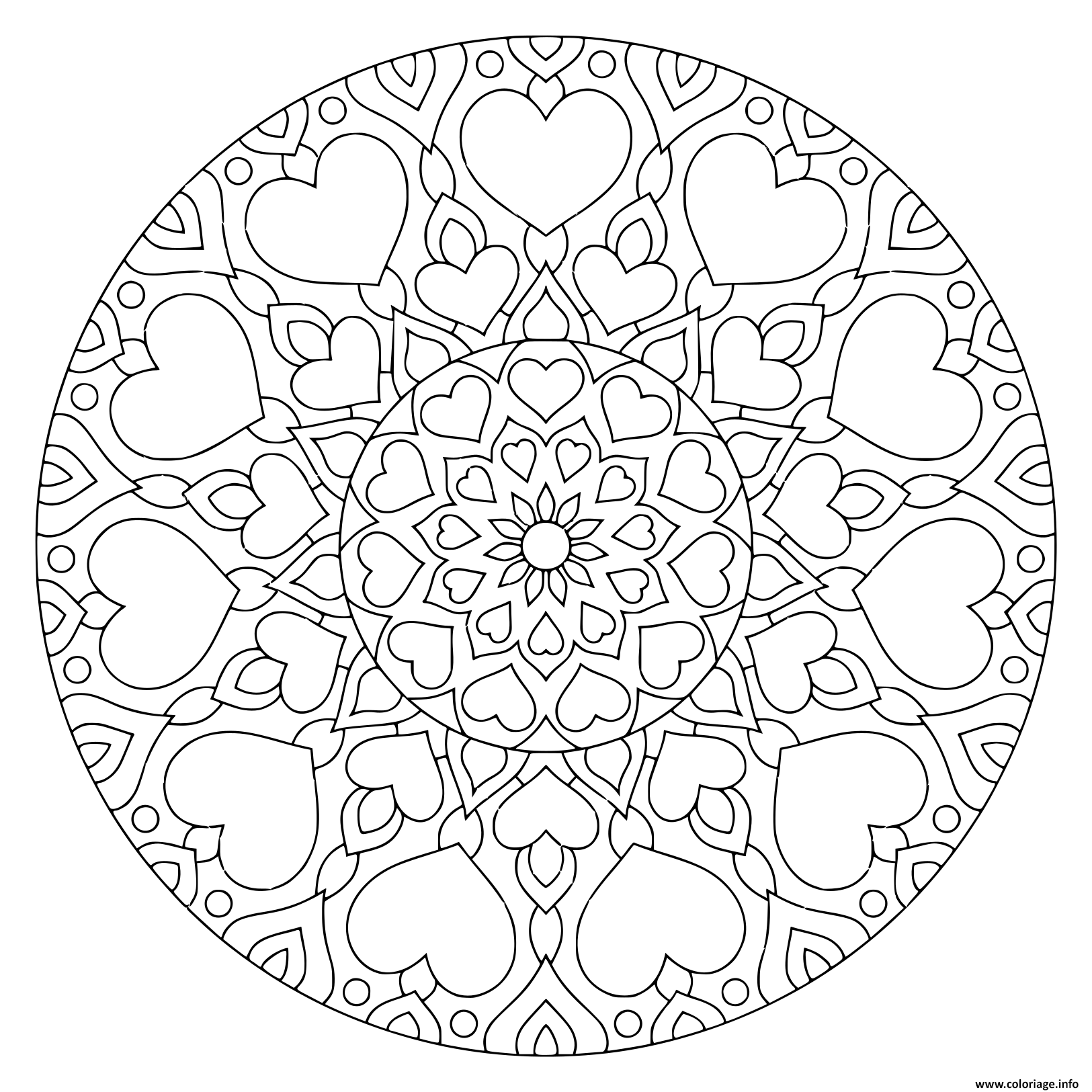 Dessin mandala avec des coeurs et fleurs Coloriage Gratuit à Imprimer