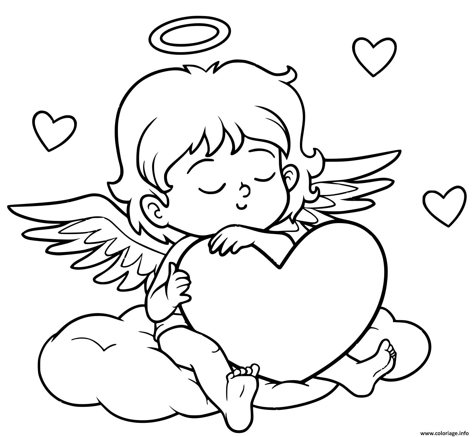Dessin un ange se repose pour la journee de lamour Coloriage Gratuit à Imprimer