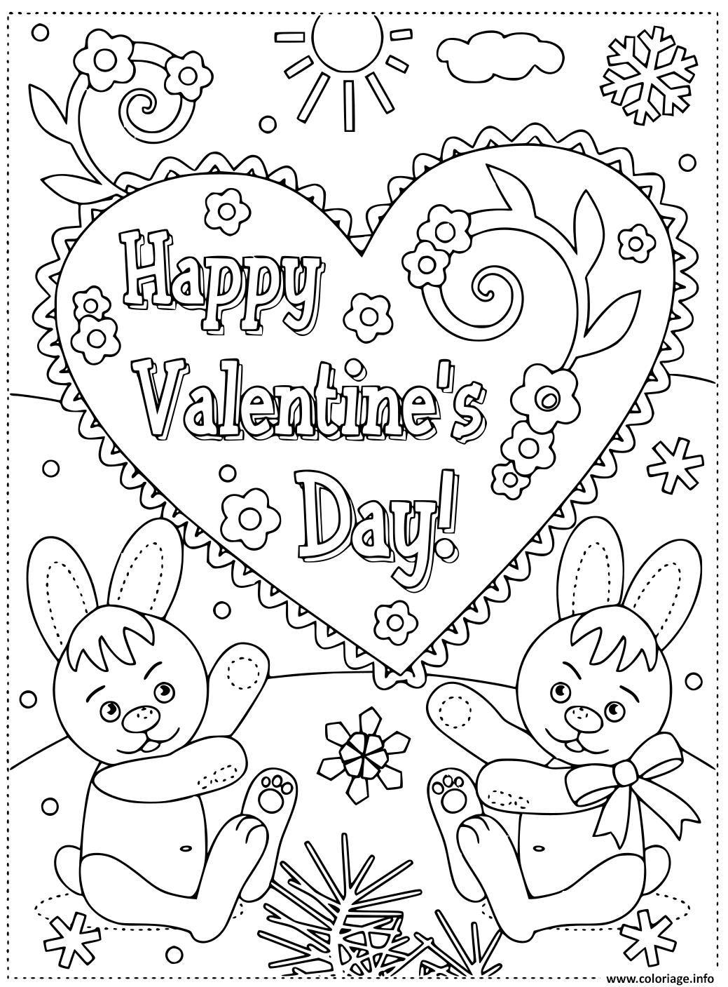 Dessin joyeuse st valentin par des lapins carte de voeux Coloriage Gratuit à Imprimer