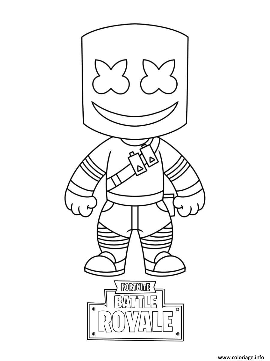 Dessin Marshmello Outfit Battle Royale for 1500 V Bucks Coloriage Gratuit à Imprimer