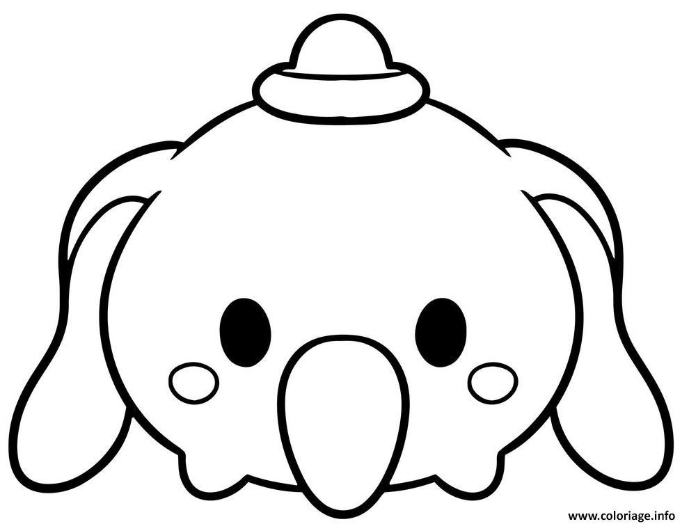 Dessin Dumbo Tsum Tsum Disney Coloriage Gratuit à Imprimer