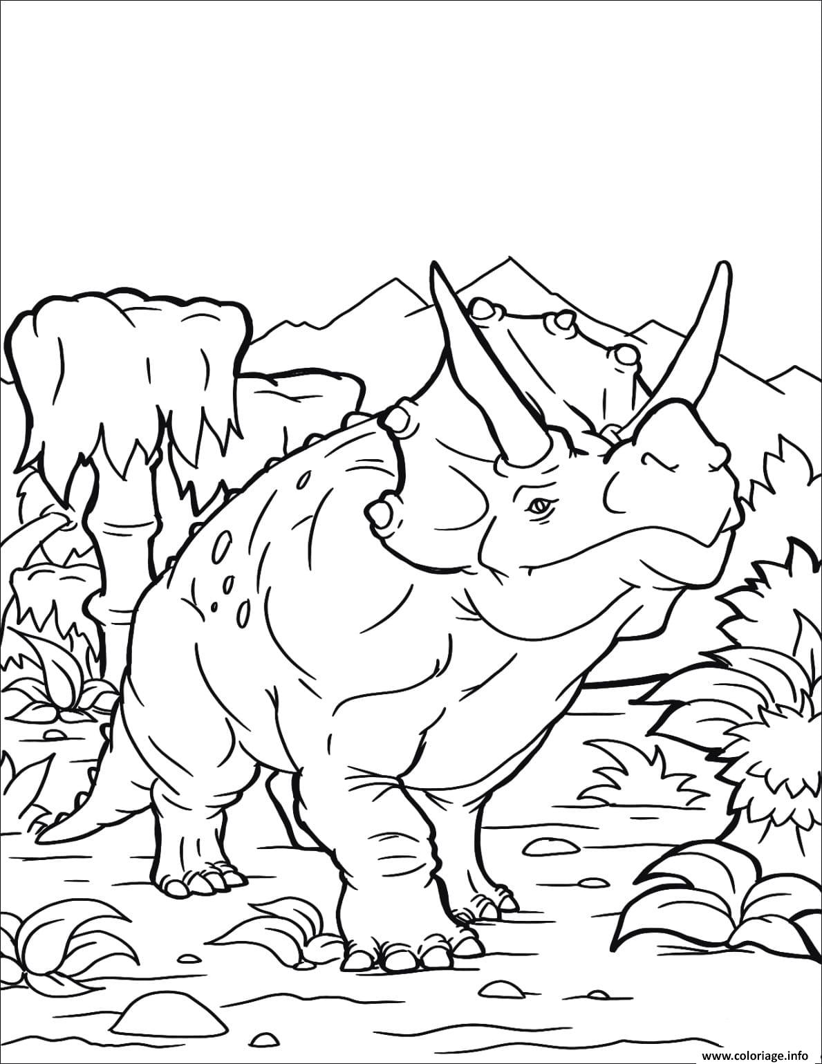 coloriage triceratops dinosaure dessin
