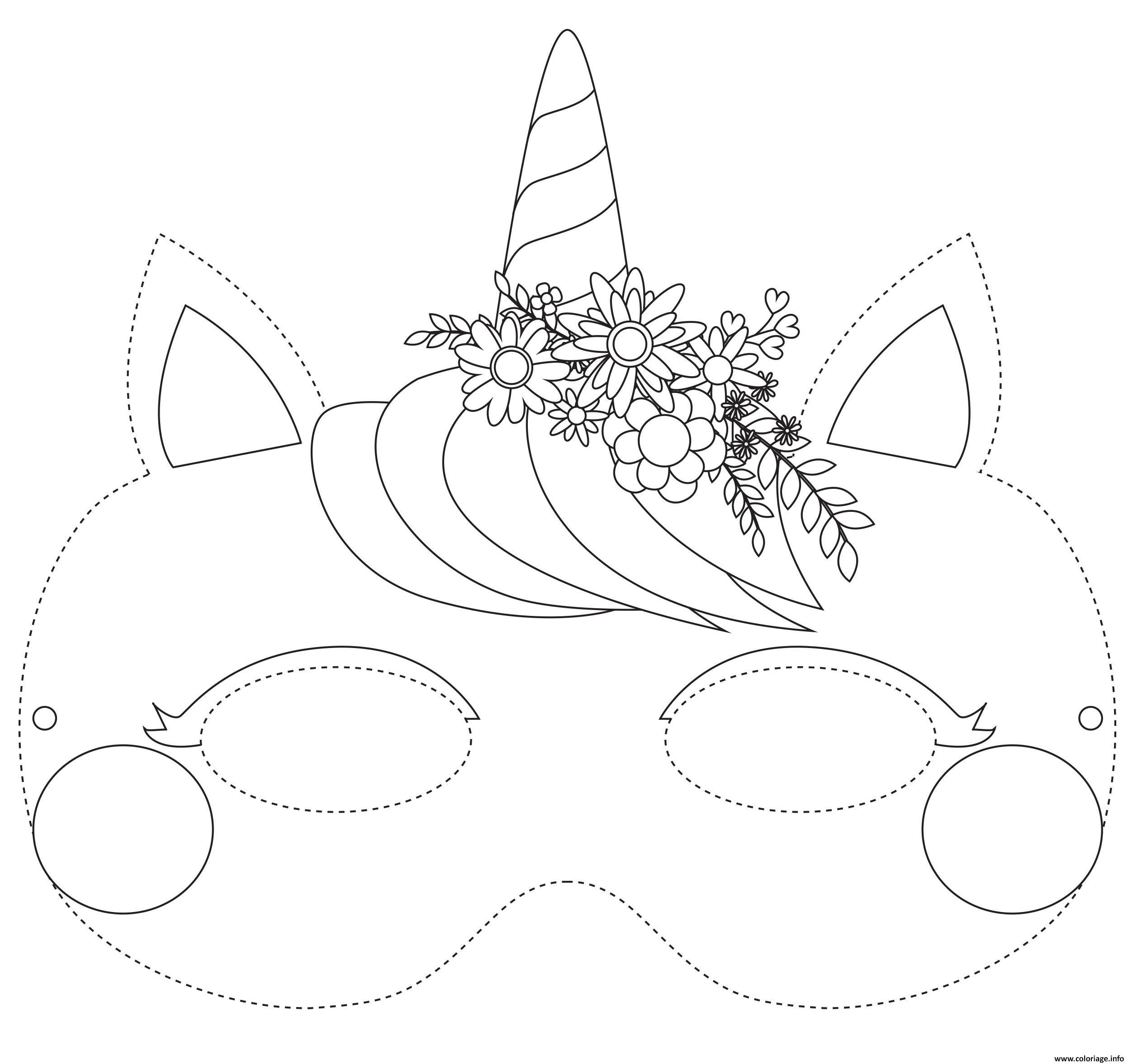 Coloriage Masque De Licorne A Colorier Dessin Masque A Imprimer