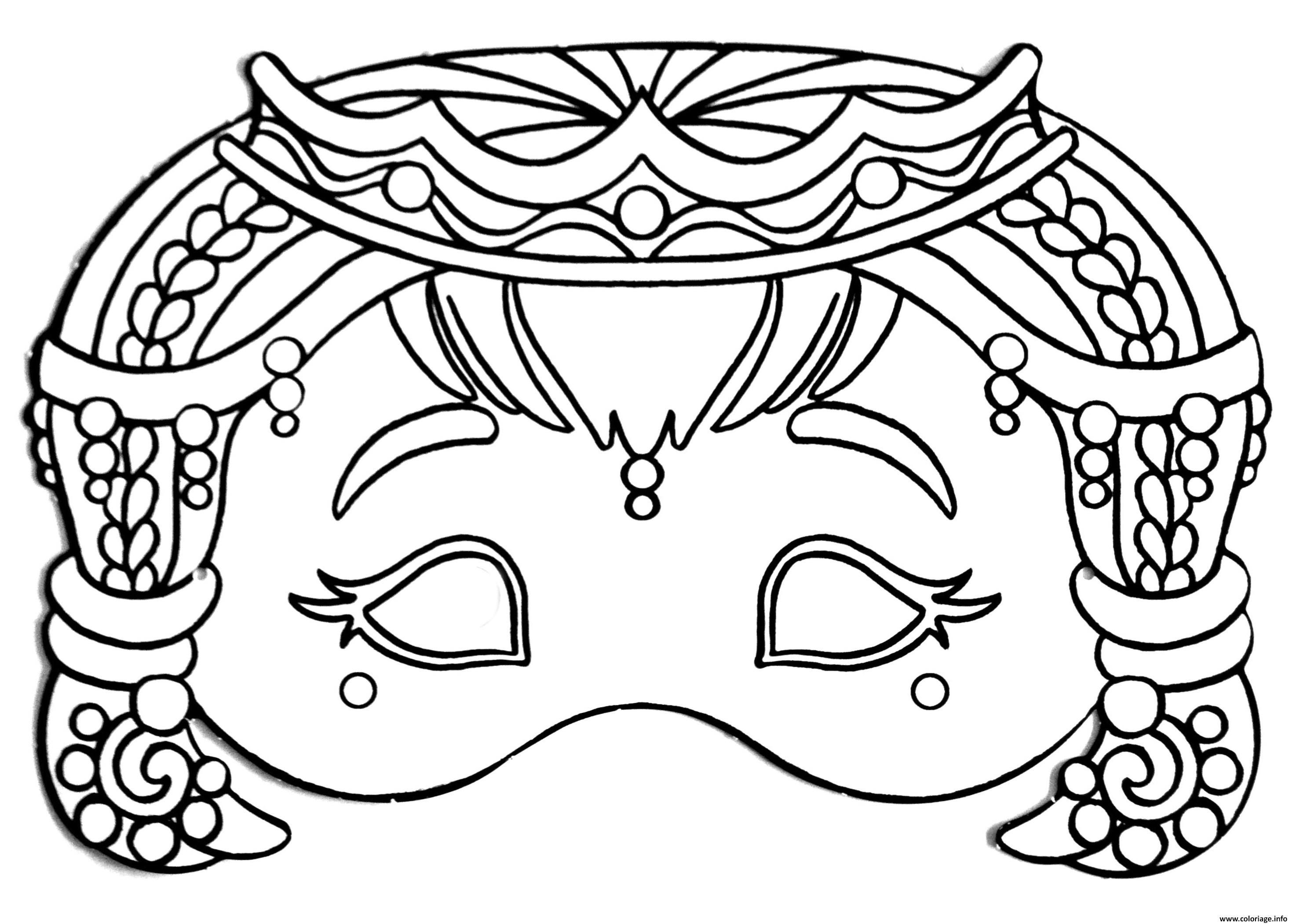 Coloriage Masque De Princesse Pour Fille Dessin Masque à imprimer
