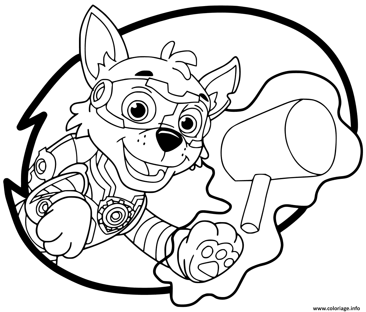 Coloriage Mighty Pups Rocky Dessin à Imprimer