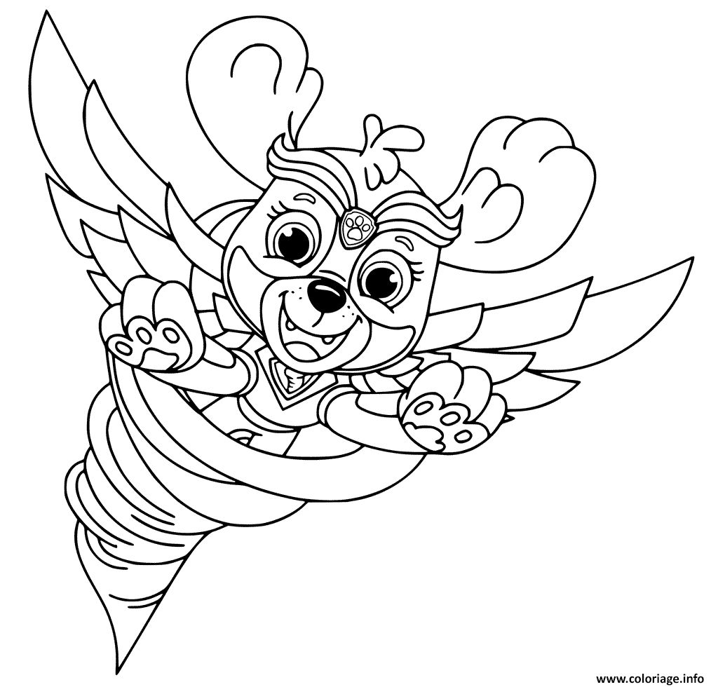 Coloriage Super Patrouille Stella Mighty Pups Helicoptere ...