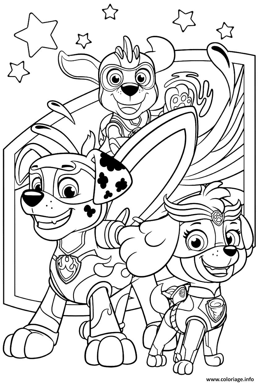 Coloriage Print Pat Patrouille Mighty Pups dessin