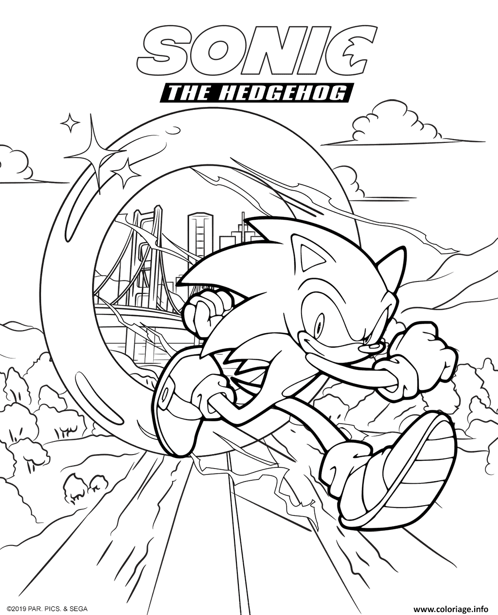 Coloriage Sonic The Hedgehog Movie 2020 Dessin